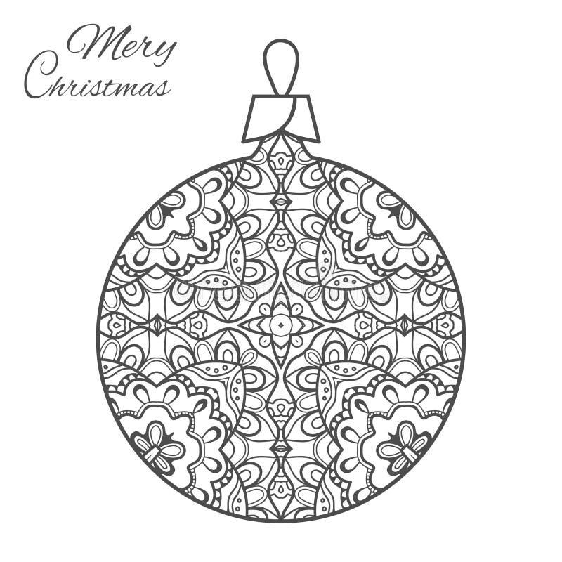 Arte di zen-scarabocchio della palla di Natale per la pagina adulta del libro da colorare royalty illustrazione gratis