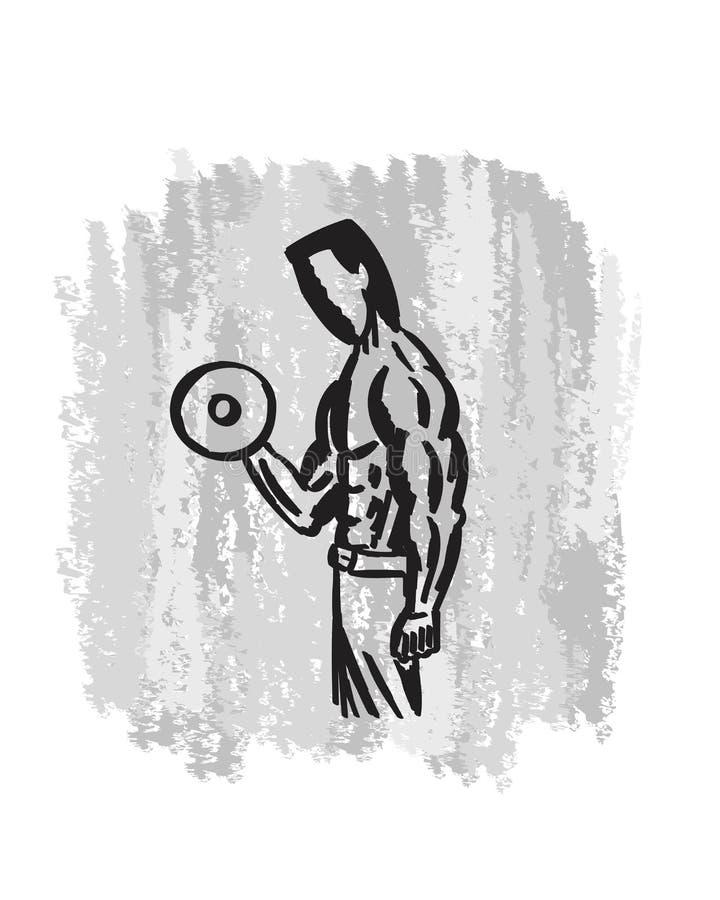 Arte dibujado mano del gimnasio del culturista fotografía de archivo libre de regalías