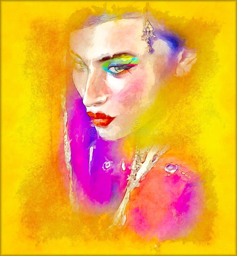 Arte digital abstracto de la cara de la mujer india o asiática, cierre para arriba con velo colorido ilustración del vector
