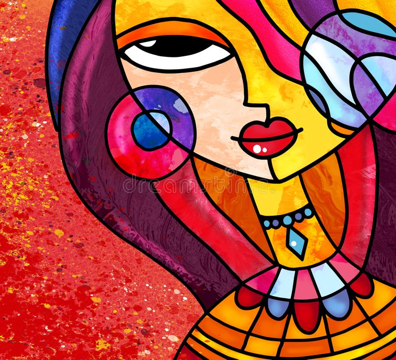 A arte digital da menina do estilo do vitral veste a colar e os brincos ilustração do vetor