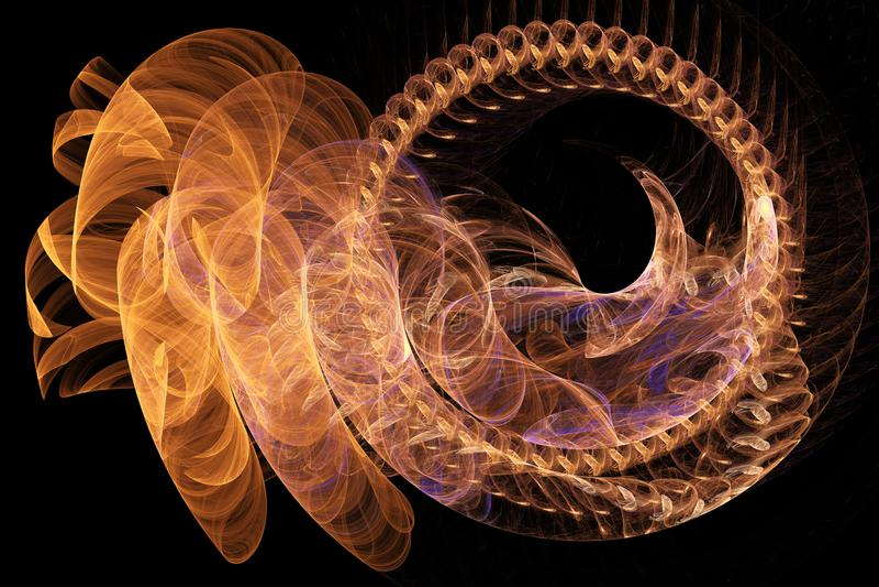 Arte digital del fondo del extracto de la espina dorsal del gusano de las curvas que brillan intensamente del fractal libre illustration
