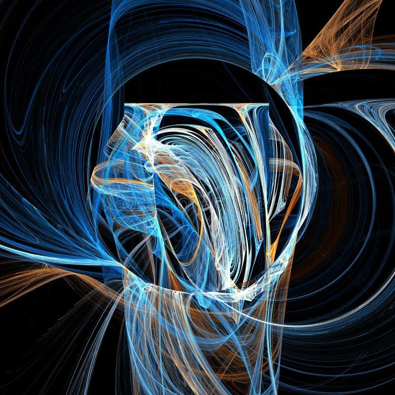 Arte digital do fractal futurista claro azul das curvas das nuvens da hélice da vertigem da mistura ilustração do vetor