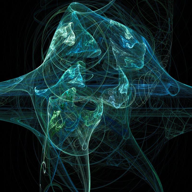 Arte digital do fractal futurista claro azul das curvas das nuvens da hélice da vertigem da onda ilustração stock