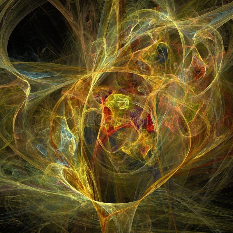 Arte digital do fractal futurista vermelho e amarelo das curvas das nuvens da hélice da vertigem da mistura ilustração stock