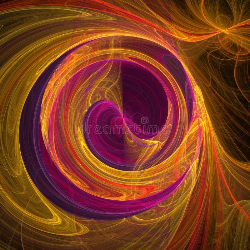 Arte digital do fractal futurista violeta e amarelo das curvas das nuvens da hélice da vertigem da mistura ilustração stock