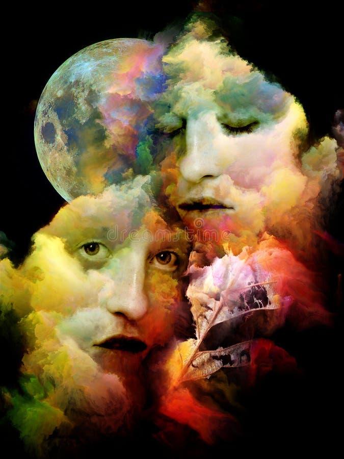 Arte digital surreal dos rostos humanos imagem de stock