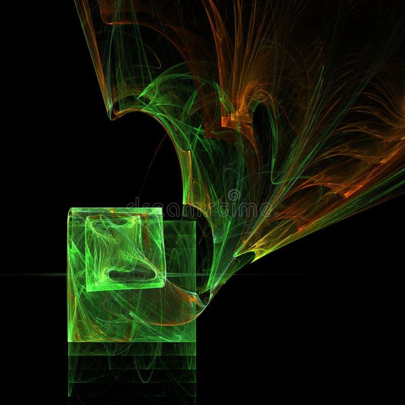 Arte digital torcido mezcla del fractal futurista de las curvas de la caja de la luz que brilla intensamente verde ilustración del vector