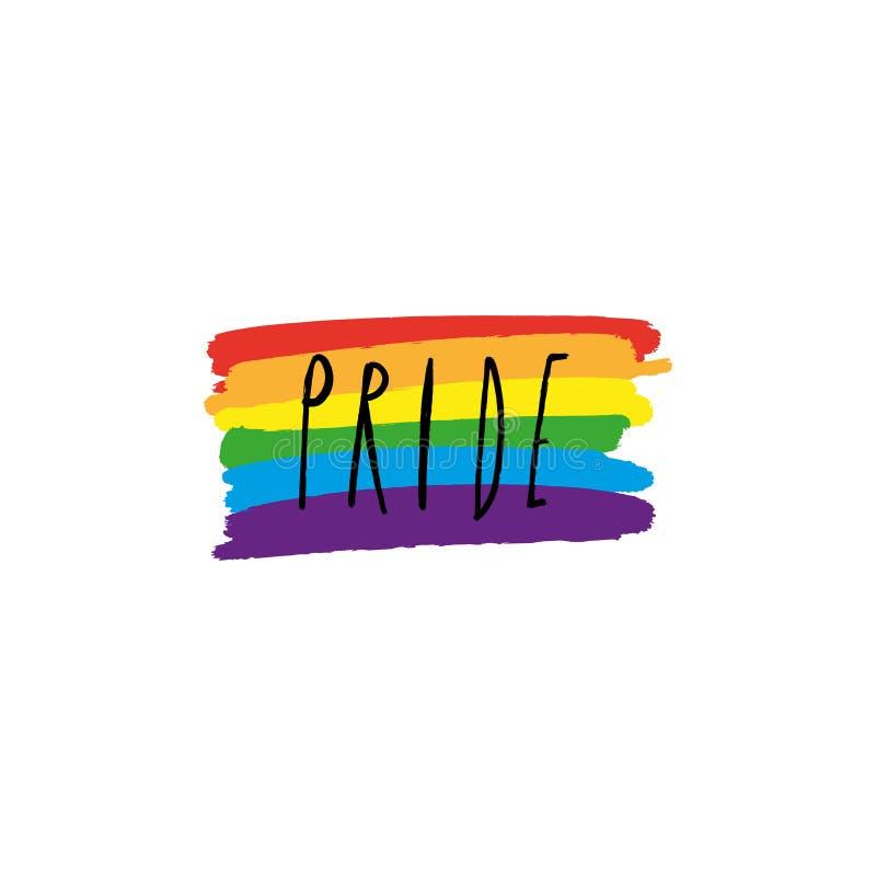 Arte disegnata a mano dell'arcobaleno dei pastelli, bandiera di LGBT, Gay Pride ed altri movimenti sociali, stampa per il manifes royalty illustrazione gratis