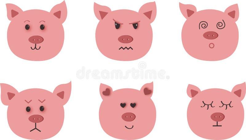 Arte disegnata a mano di vettore del maiale Nove emozioni del carattere: felice, tristezza, rabbia, amore, sorpresa illustrazione vettoriale