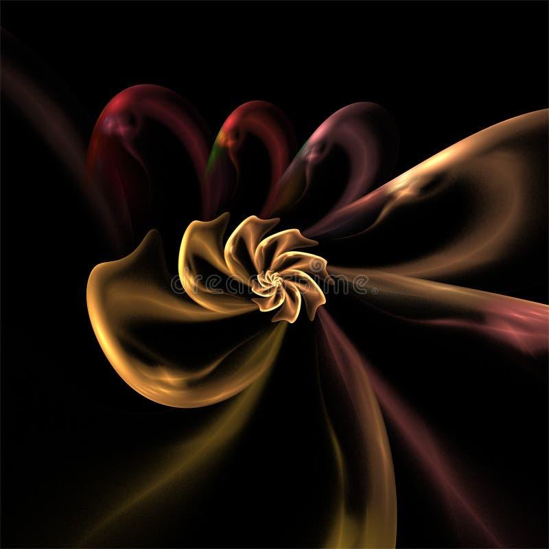Arte ditigal do fractal do computador, fractals abstratos, escuro decorativo - forma de vidro místico vermelha ilustração royalty free