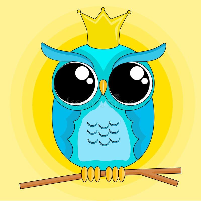 Arte do ícone da coroa da coruja imagem de stock