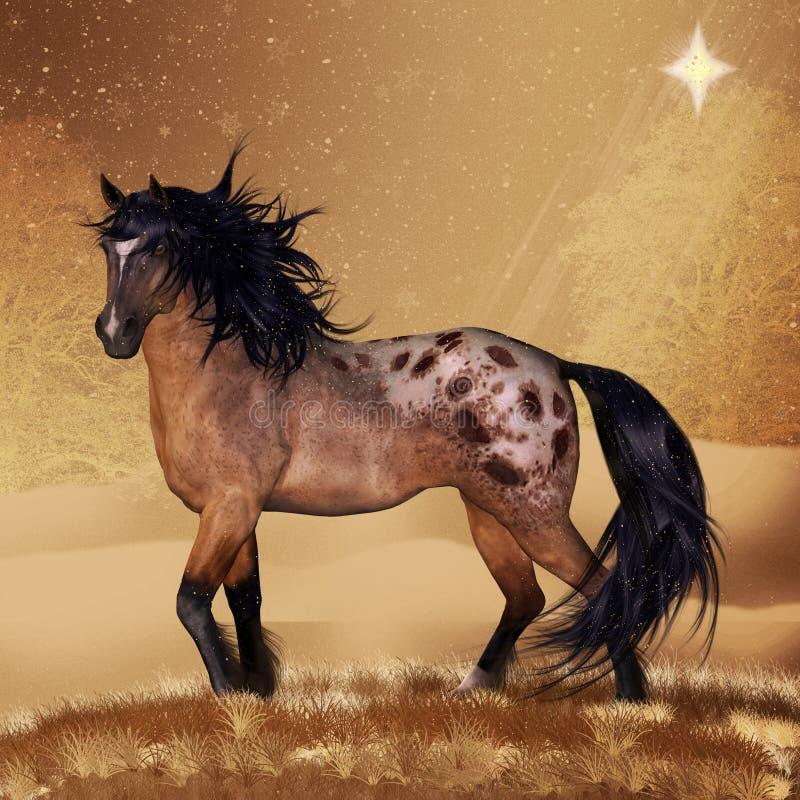 Arte do cartão ou da parede do feriado do Natal do cavalo ilustração stock