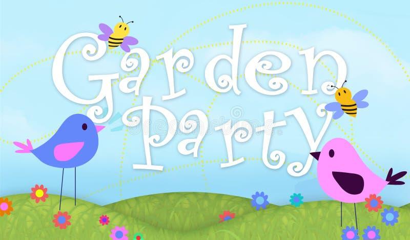 Arte do convite do partido de jardim com ilustração dos pássaros e das abelhas ilustração stock