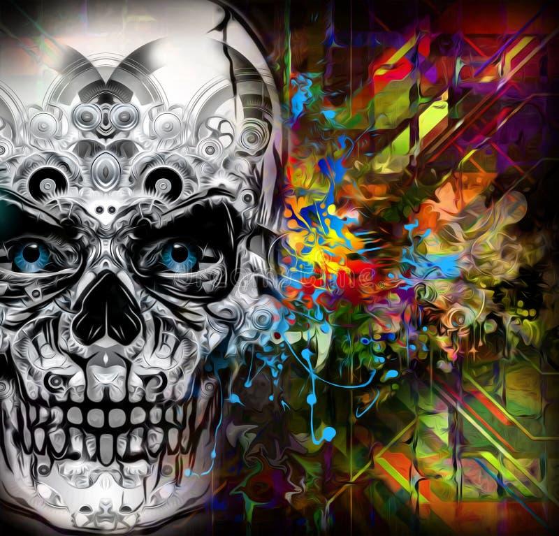 Arte do crânio ilustração stock