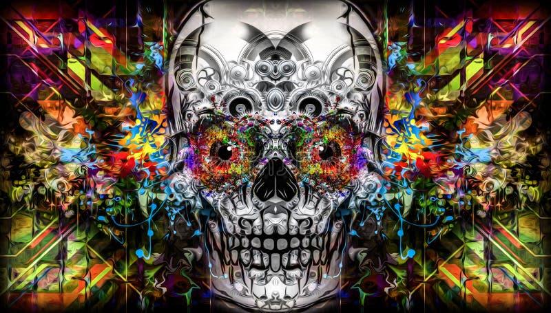 Arte do crânio ilustração do vetor