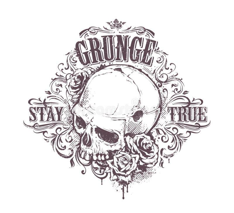 Arte do crânio do Grunge ilustração do vetor