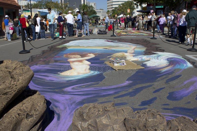 arte do giz 3D em Sarasota Florida fotografia de stock royalty free