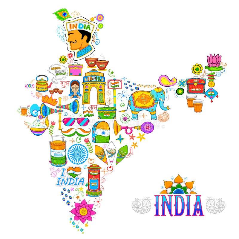 Arte do kitsch do mapa da Índia ilustração royalty free
