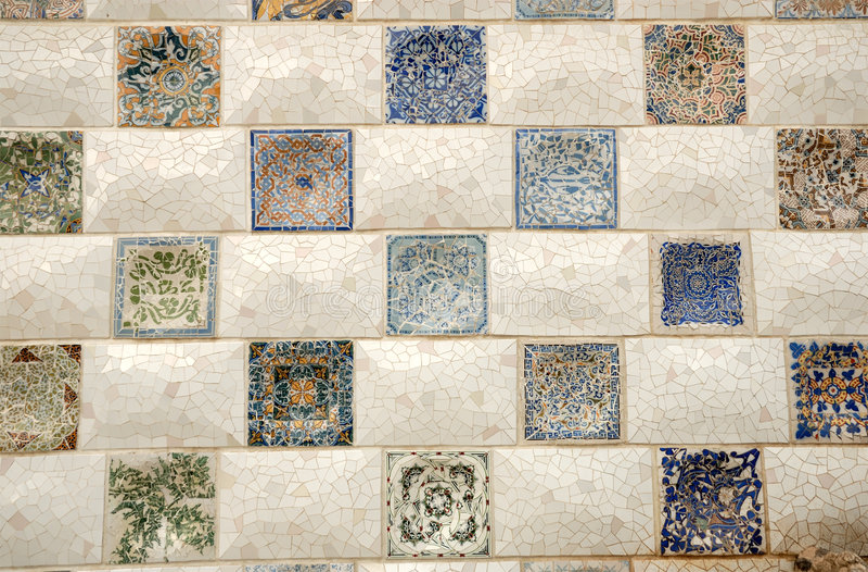 Arte do mosaico em Barcelona Spain imagens de stock