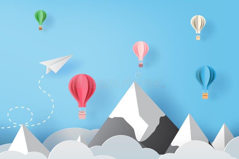 arte do papel 3D e ofício de aviões voo e balões do Livro Branco no céu azul e nas nuvens, aviões criativos do corte do papel do  ilustração royalty free
