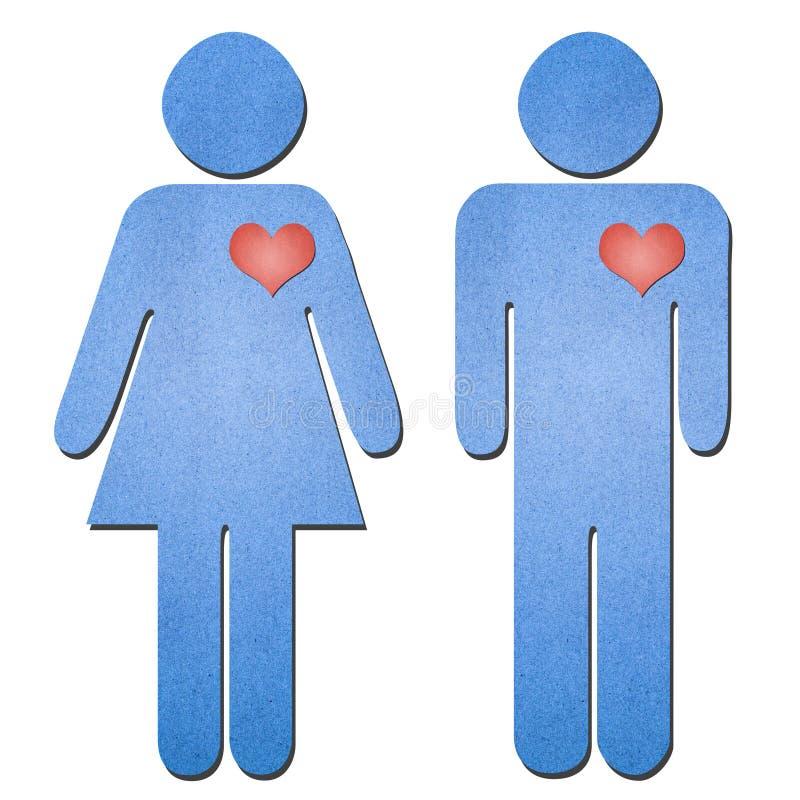 Arte do papel do símbolo do homem e da mulher foto de stock