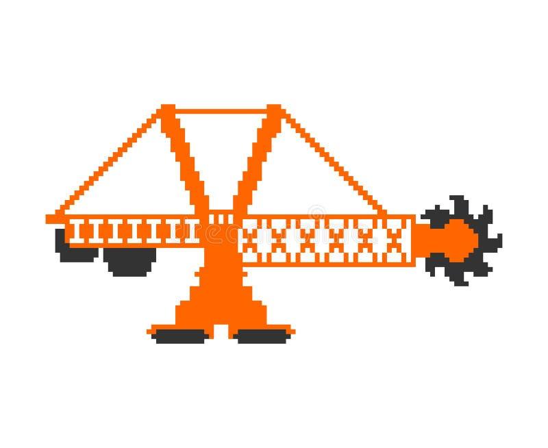 Arte do pixel da máquina escavadora de roda de cubeta vetor pesado do equipamento de 8 bocados ilustração royalty free