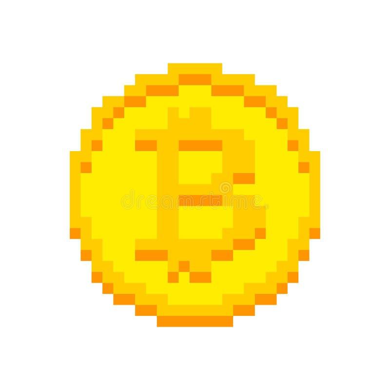 Arte do pixel de Bitcoin isolada bocado cripto da moeda 8 Cryptocurrenc ilustração royalty free