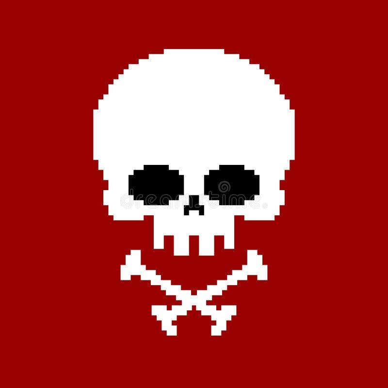 Arte do pixel do crânio A cabeça do esqueleto pixelated isolado nos vagabundos brancos ilustração royalty free