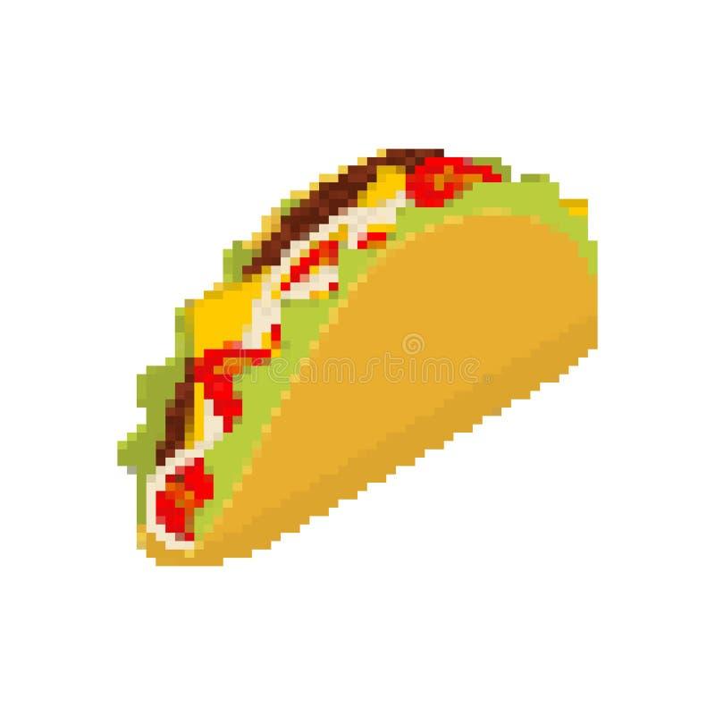 Arte do pixel do taco Os tacos pixelated O fast food mexicano é isolat ilustração do vetor