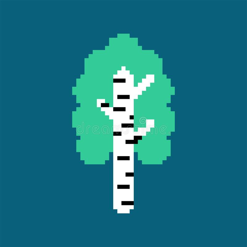 Arte do pixel do vidoeiro Árvore nacional do russo Ilustração do vetor ilustração stock