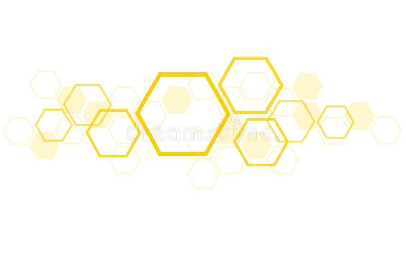 Arte do projeto da colmeia da abelha do hexágono e fundo do espaço ilustração royalty free