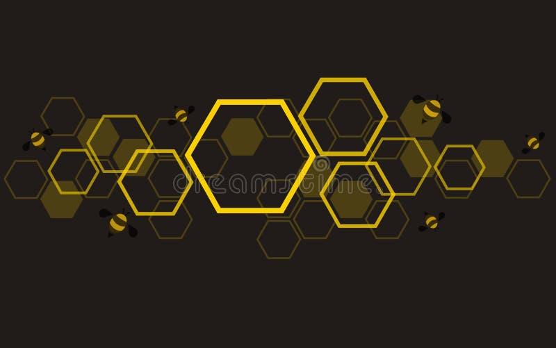 Arte do projeto da colmeia da abelha do hexágono e vetor do fundo do espaço ilustração stock