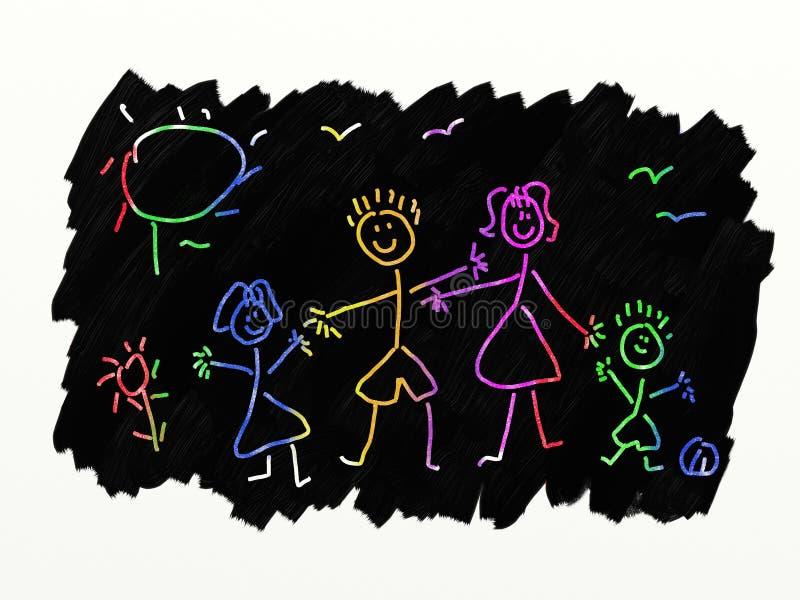 Arte do risco - família ilustração royalty free