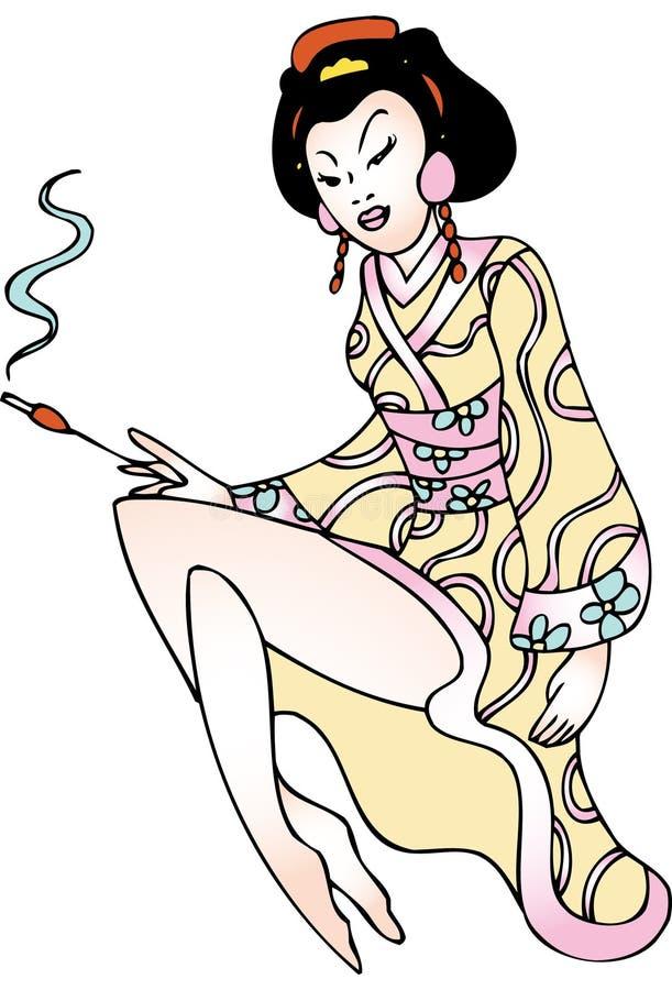 Arte do tatuagem da gueixa ilustração royalty free