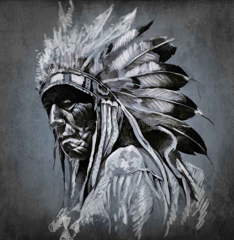 Arte do tatuagem, retrato da cabeça indiana americana ilustração royalty free