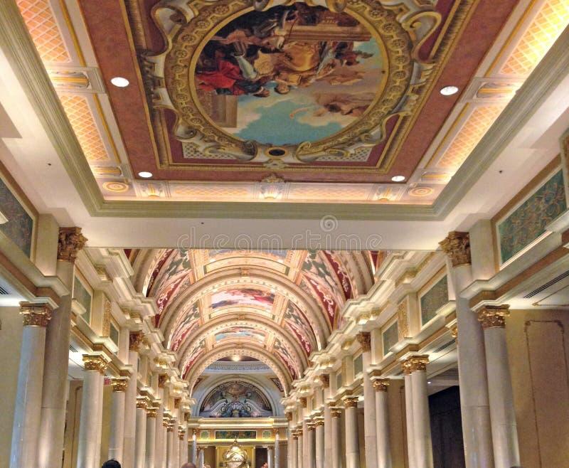 Arte do teto no hotel Venetian em Vegas fotos de stock