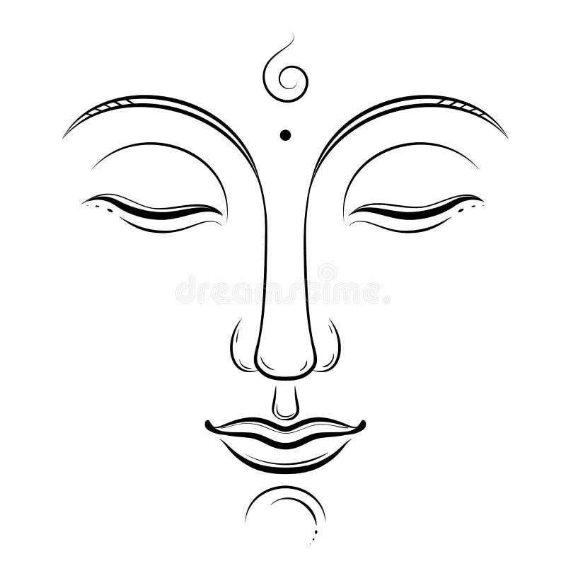 Arte do vetor da cara da Buda Budismo, ioga, espiritual sagrado, desenho da tinta do zen isolado no branco ilustração do vetor