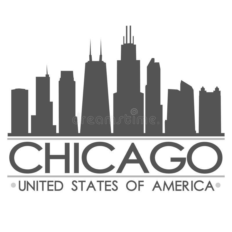 Arte do vetor da cidade do projeto da silhueta da skyline de Chicago ilustração royalty free
