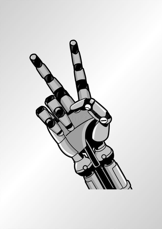 Arte do vetor da ilustração da paz da mão do robô ilustração royalty free