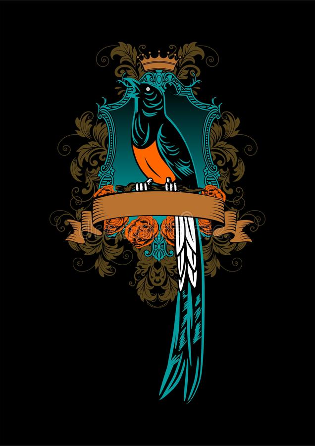 Arte do vetor da ilustração do projeto da arte finala do pássaro do ninja de Kolibri ilustração stock