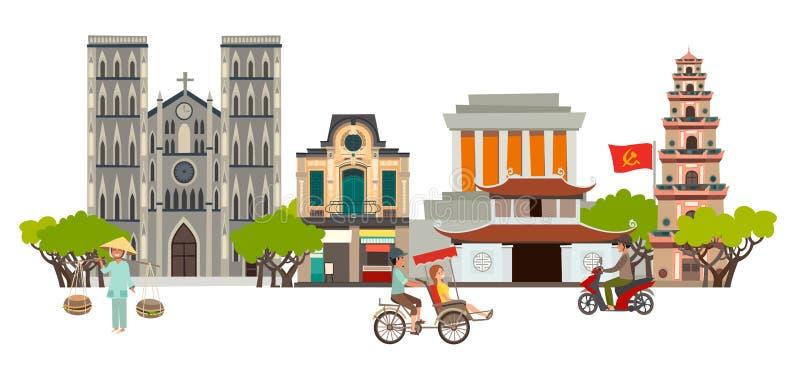 Arte do vetor da skyline da cidade de Vietname Rua abstrata com pagode e igreja, casa tradicional ilustração royalty free