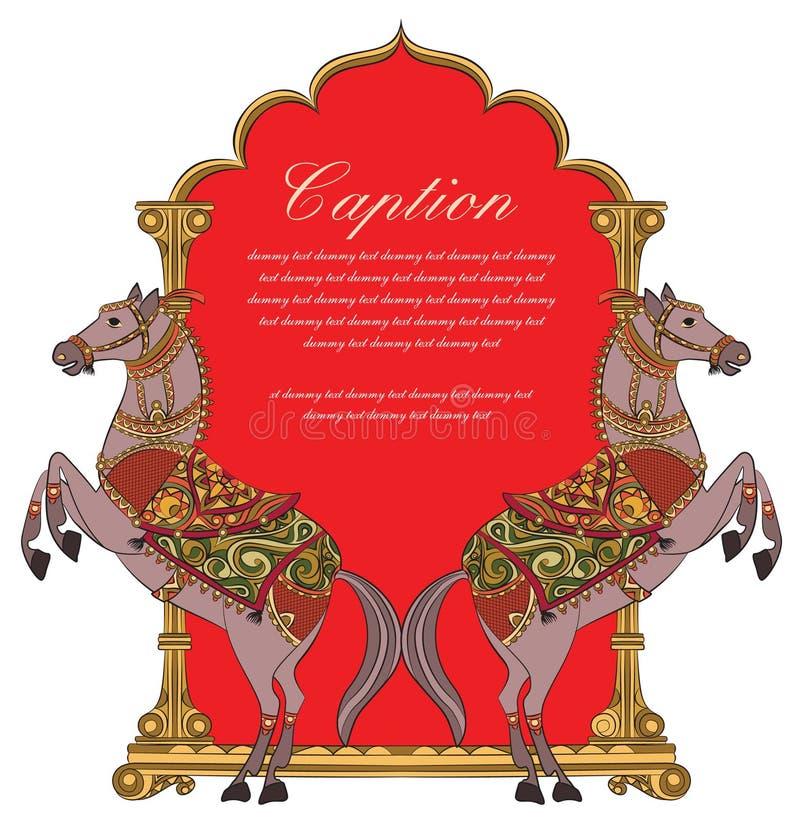 Arte do vetor do projeto/logotipo do protetor do cavalo para o cartão ilustração royalty free