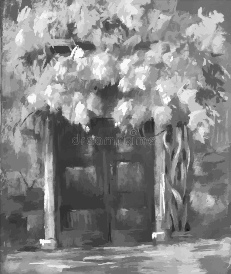 Arte do vetor, opinião da rua da porta em Veneza, arte finala moderna Veneza Itália Ilustração ilustração stock
