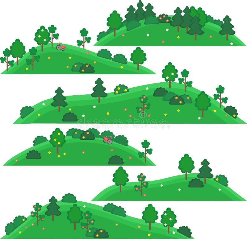 Arte do vetor para jogos Montes com árvores e arbustos fotos de stock royalty free