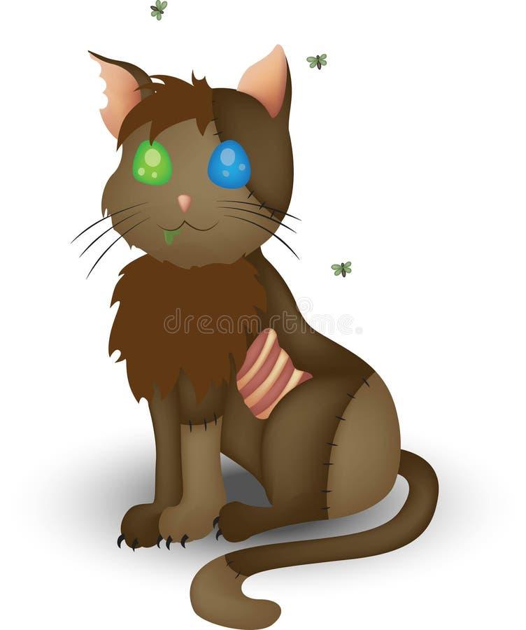 Arte do zombi do gato ilustração stock