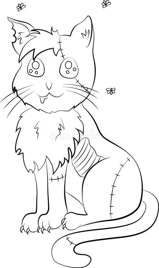 Arte do zombi do gato ilustração do vetor
