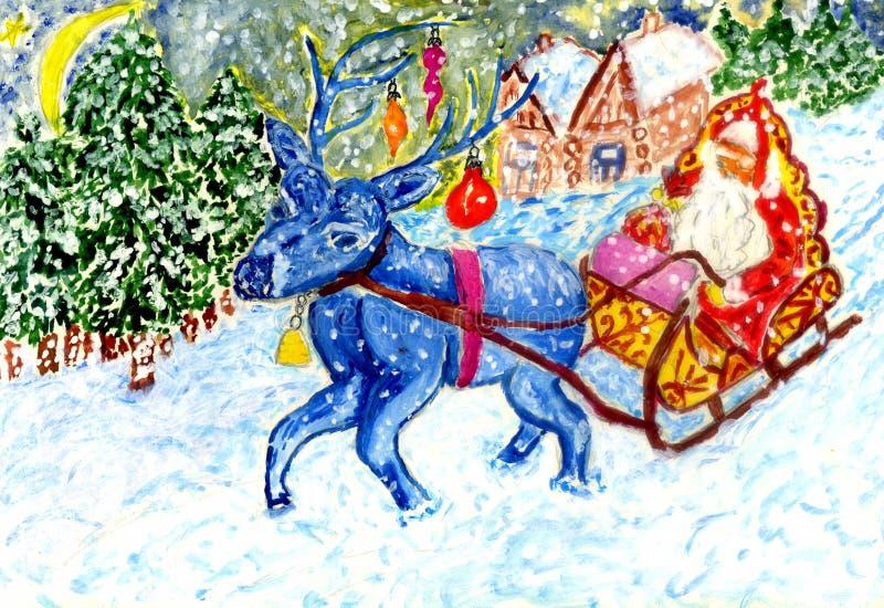 Arte dos cumprimentos do Natal ilustração royalty free