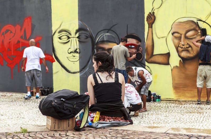 Arte dos grafittis em Sao Paulo, Brasil fotos de stock