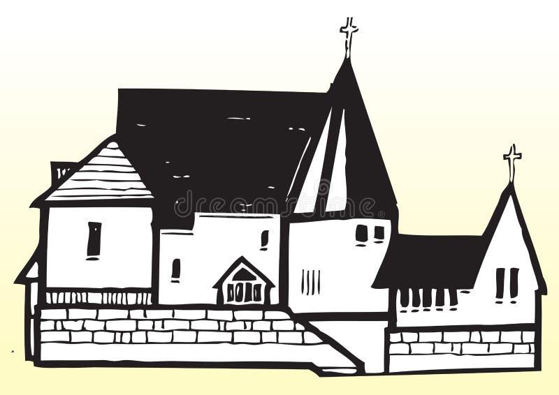 Arte drenado mano del vector de la iglesia ilustración del vector
