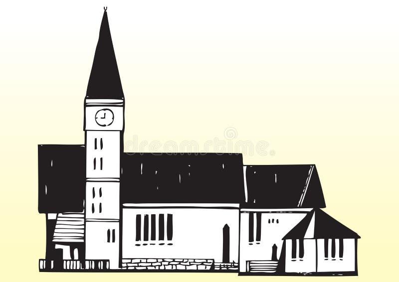 Arte drenado mano del vector de la iglesia stock de ilustración